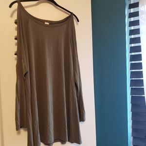 Olive green top, ladder sleeves